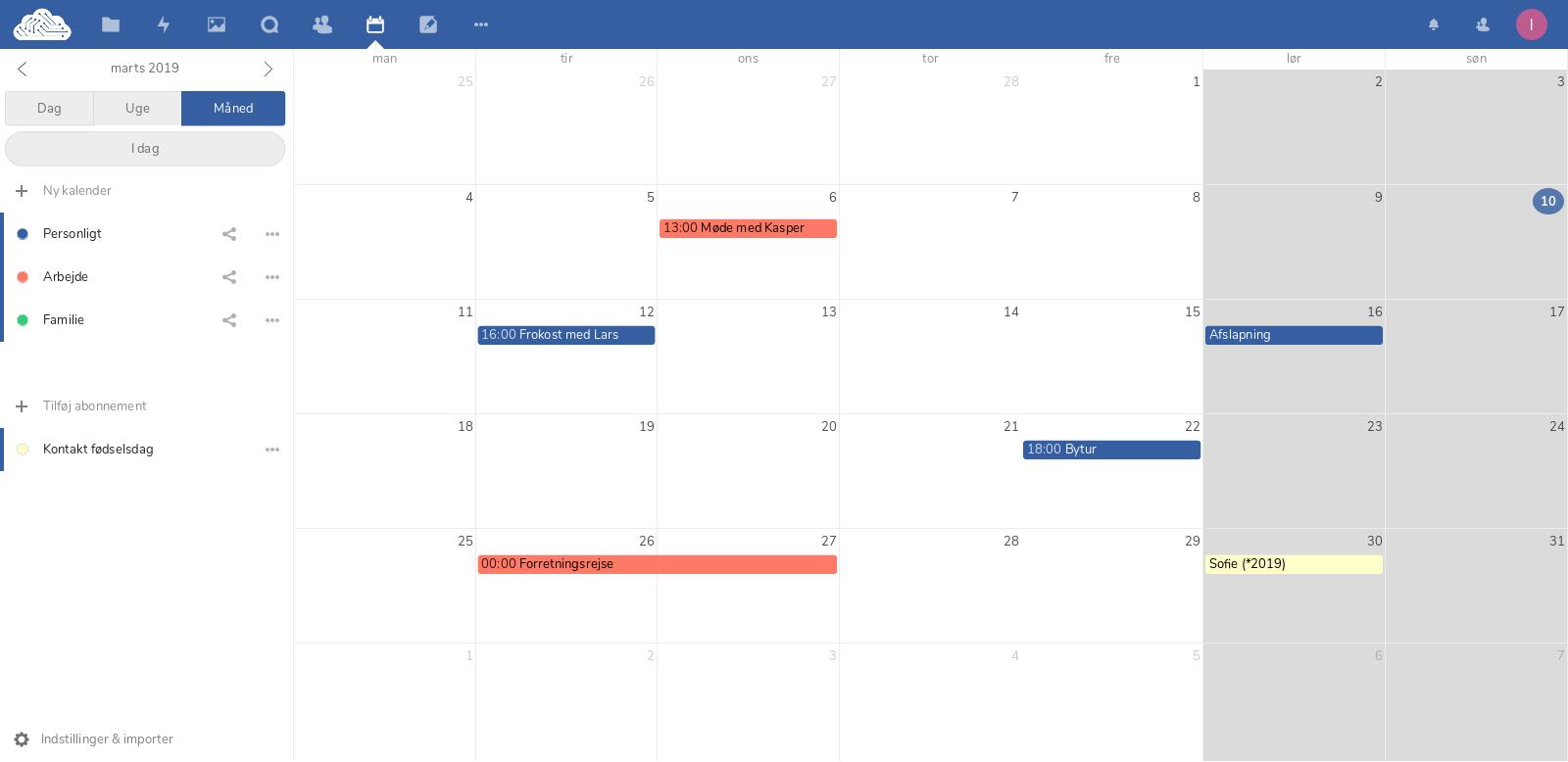 Organiser din kalender i skyen.